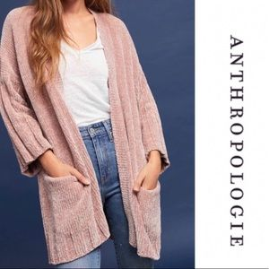 NEW Anthropologie Pink Chenille Cardigan by Moth